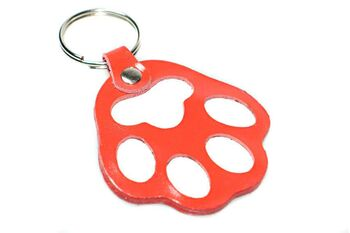 Red paw leather key ring