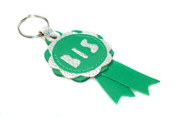 BIS rosette in green and silver leather