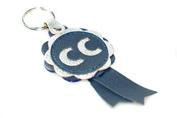 Blue leather CC winner show rosette key ring