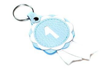 Baby blue winner show rosette key ring