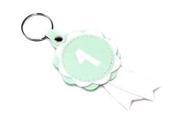 Mint green lea the show rosette key ring