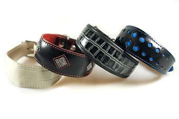 Traditional soft padded handmade leather whippet collars