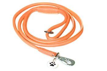 Orange rolled leather dog lead 1.5m / 5ft