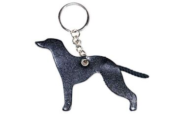 Black leather Whippet key ring fob / bag charm