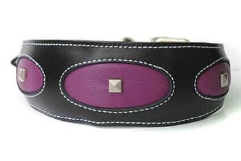 Bespoke Ovals shapes collar with crystals custom made for an elegant Afghan hound