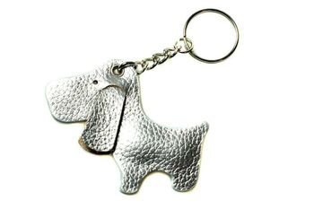 Cute silver dog with black ears key ring / bag charm
