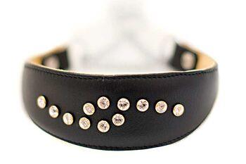 Black Swarovski crystal martinagale sighthound collar