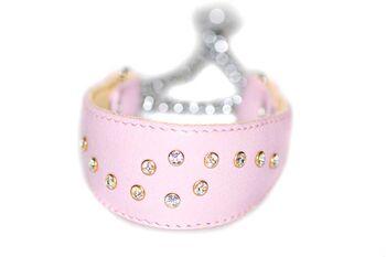 Luxury Swarovski soft padded pink leather martingale dog collar
