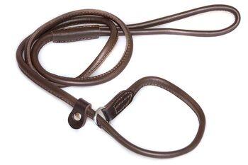 Premium brown leather gundog slip lead