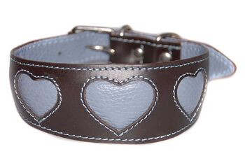 Soft padded brown sighthound collar with sky blue leather hearts