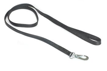 Soft black nappa leather double folded stitched dog lead