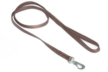 "Brown nappa leather stitched lead 1m / 40"" long"