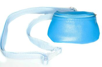 Blue dog training and dog show lilac leather bait bag with adjustable belt and zip