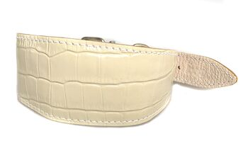 White reptile leather padded sighthound collar