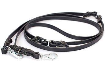 Police style black premium soft leather dog training leash