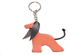 Red Afghan hound leather key ring