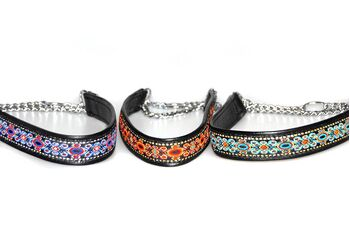 Soft leather martingale ribbon collars