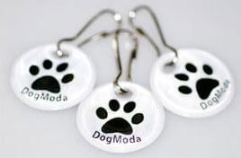 Reflective clip on dog collar dangler tags for night safety