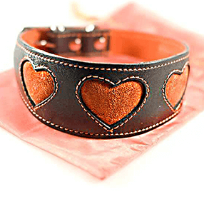 Hearts shapes lurcher collars from Dog Moda