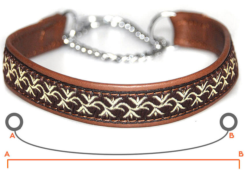 Martingale collar size guide from Dog Moda