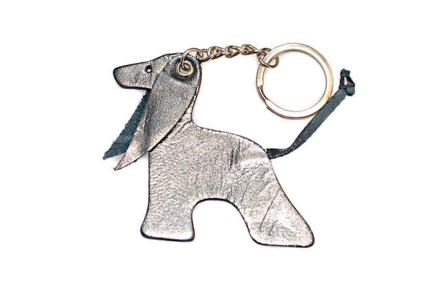 Silver blue Afghan hound key ring