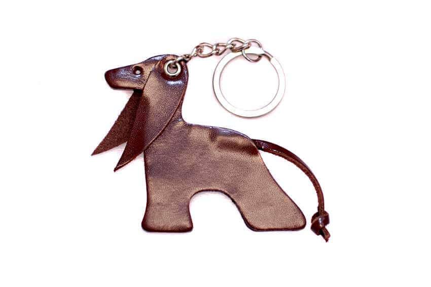 Brown Afghan hound key ring