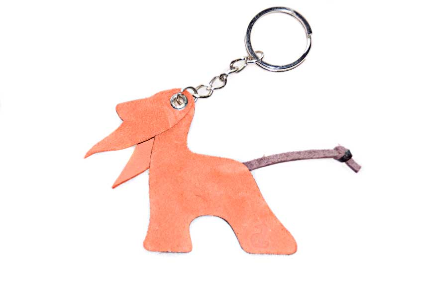 Red & brown Afghan hound keyring