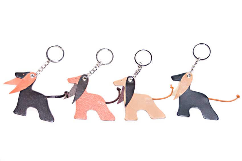 Dog Moda leather Afghan key rings available in other colours