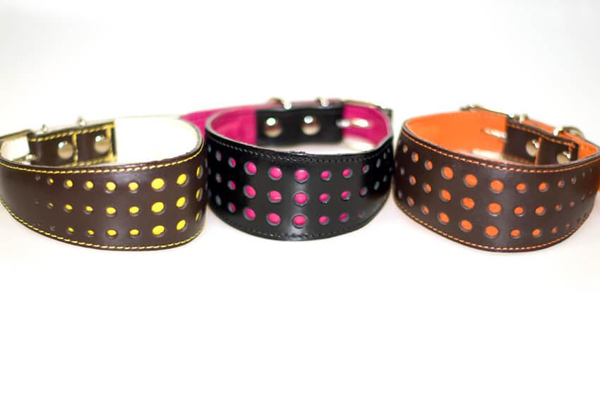 Elegant lurcher collars in pink, orange and yellow