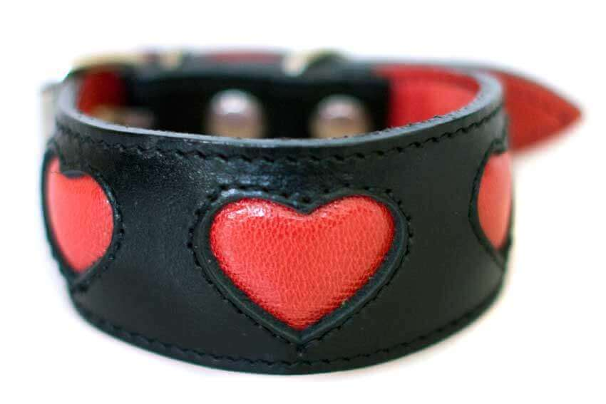 Soft padded black leather hound collar with red hearts - size XS for Italian Greyhound, puppies and smaller hounds