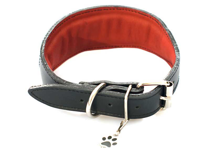 Limited edition red suede hearts sighthound collar is lined in nubuck leather