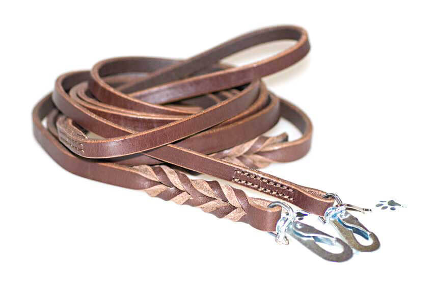 Dog Moda wide brown leather leads - narrow stitched and wide plaited leather dog leads