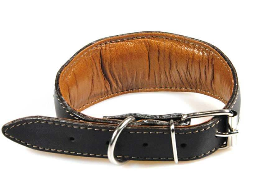 All our brown leather hound collar with gold leopard hearts are fully padded and lined with leather