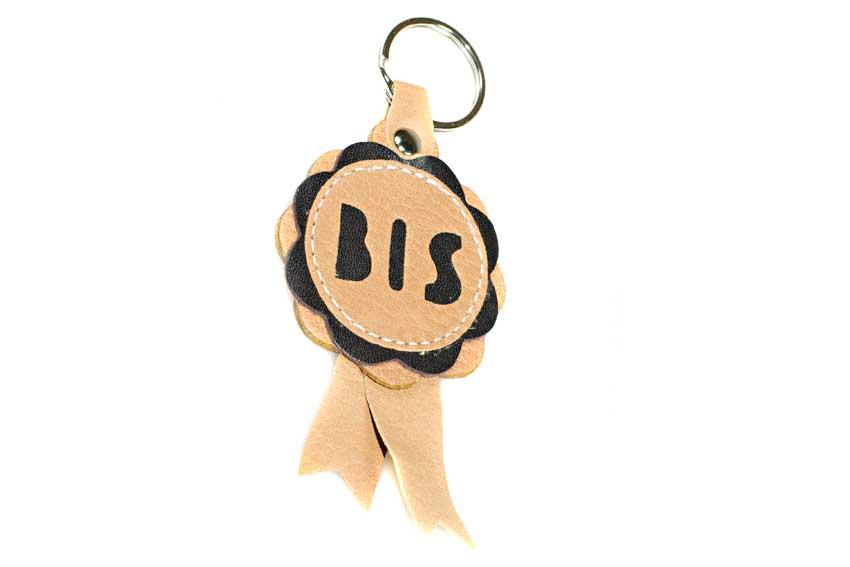 Best in Show rosette key ring in beige