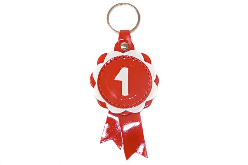 Winner show rosette key ring in red leather