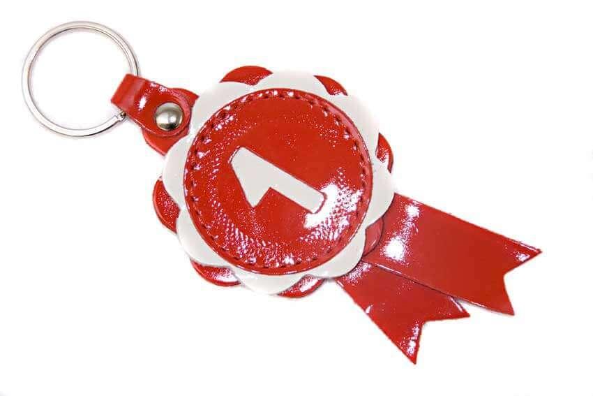Red leather winner show rosette key ring / charm