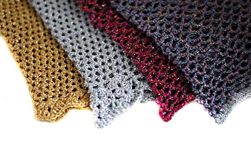 Sparkle metallic crochet snoods in gold, silver, pink and lilac