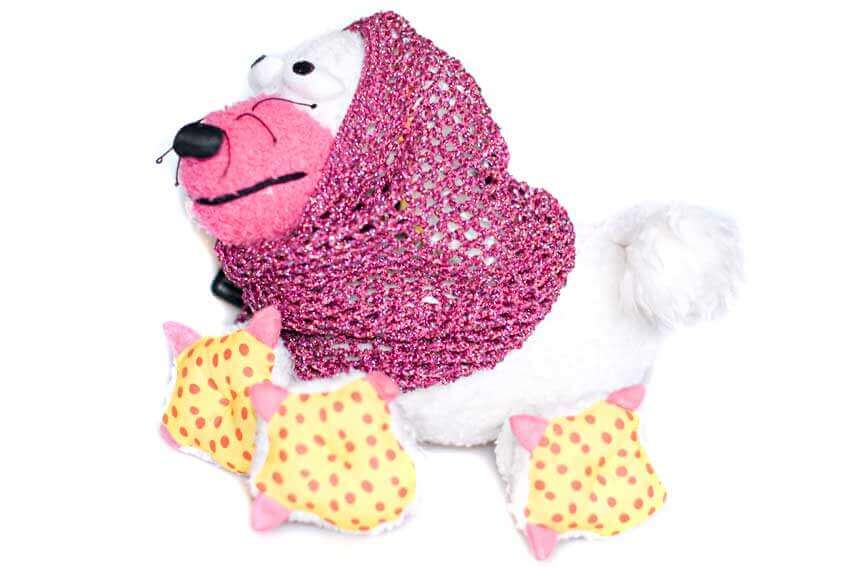 Made to order sparkle crochet dog snood modelled by Zachpinoulla The Poodle
