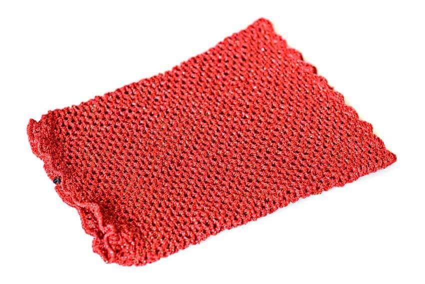 Red metallic crochet snood
