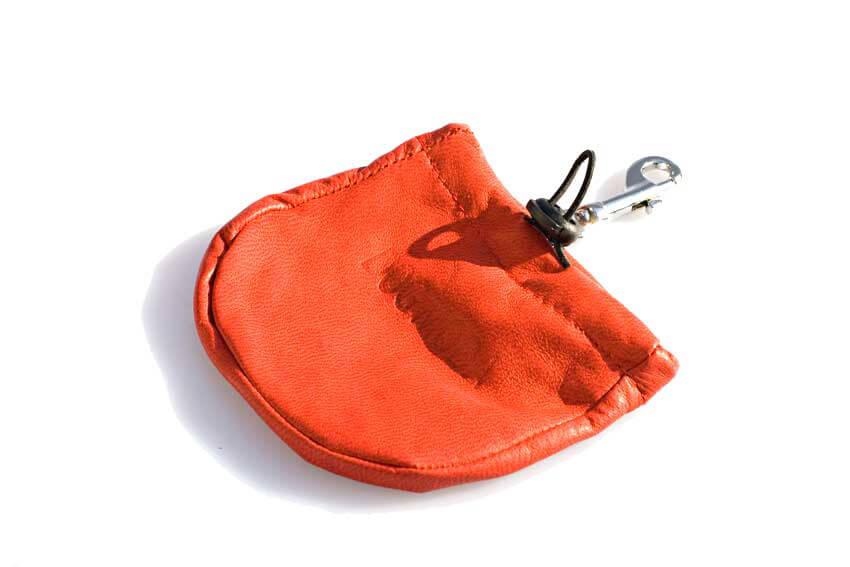 Dog training treat bag is made fem soft leather