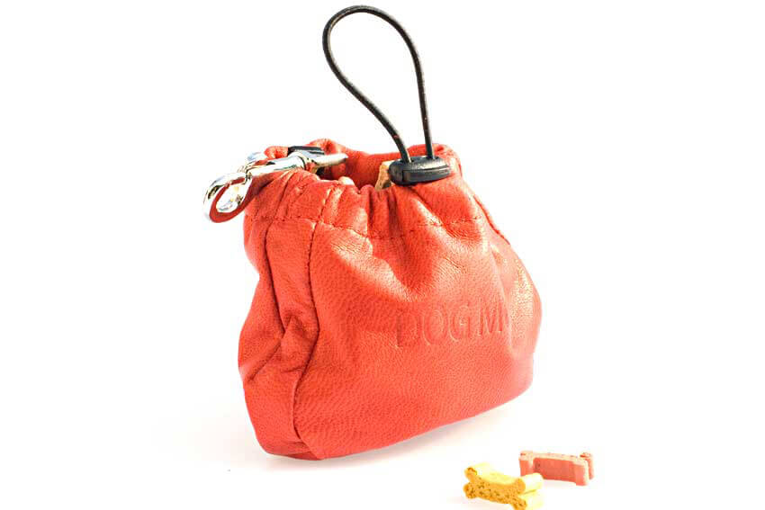 Dog training red leather clip treat bag