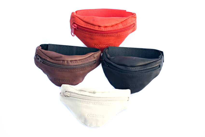Training wrist treat pouches available in black, brown, red and white soft napa leather