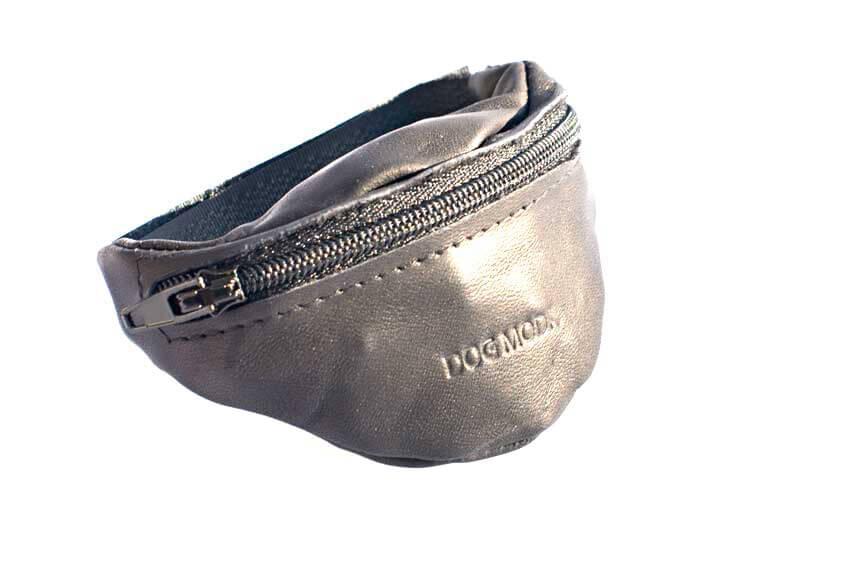 Dog training black leather arm treat pouch from Dog Moda