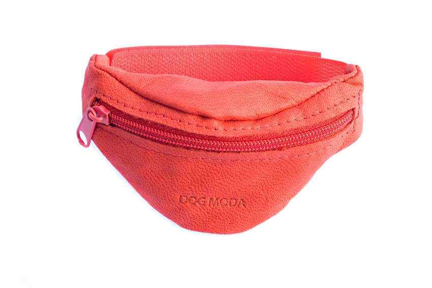 Dog training red leather arm wrist treat pouch from Dog Moda