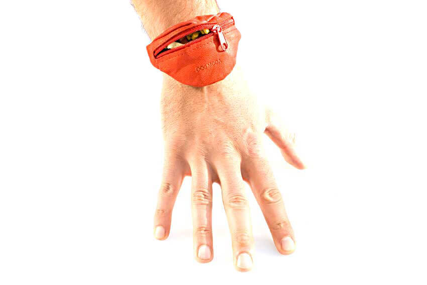 Wrist treat pouch fits all hands, big and small