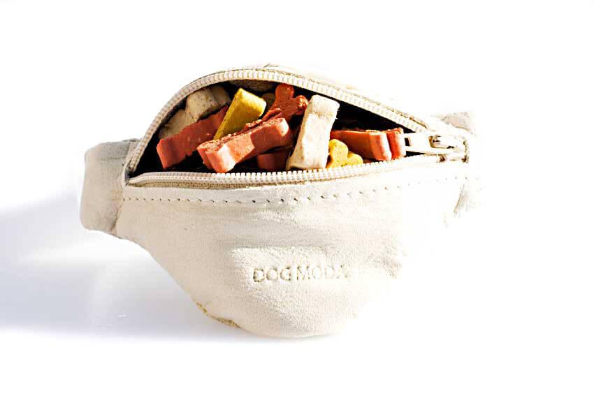 Dog training white leather arm wrist treat pouch from Dog Moda