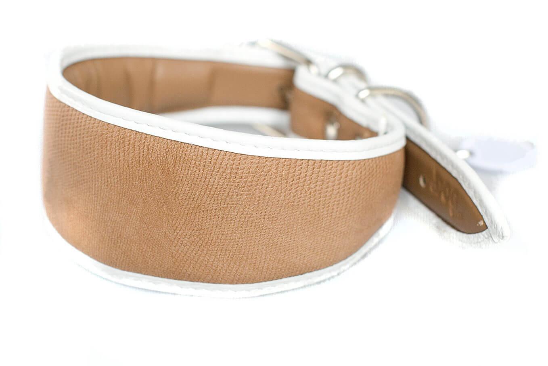 Beige snake leather hound collar from Dog Moda