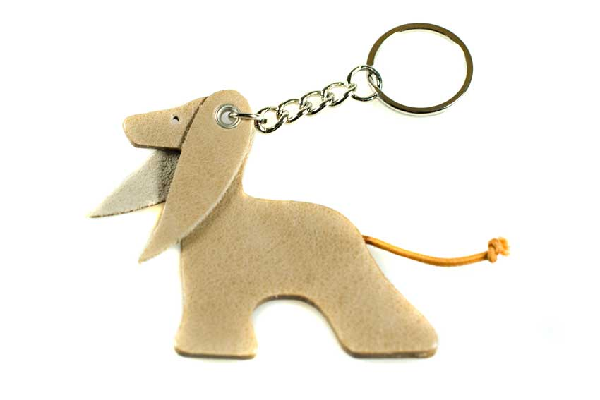 Cream Afghan hound key ring