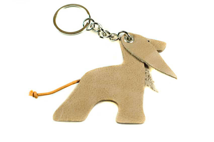 Afghan hound key ring in cream
