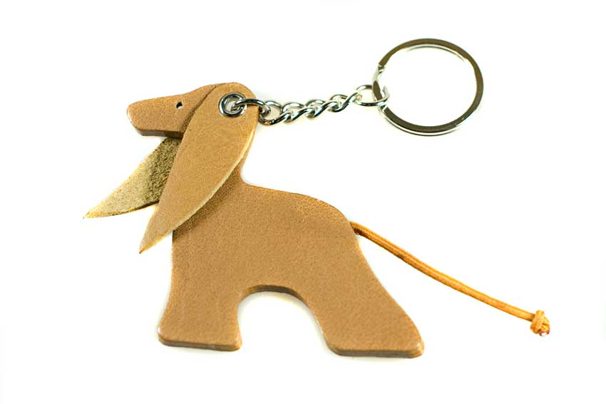 Domino leather Afghan Hound key ring / bag charm